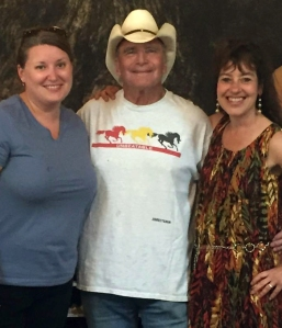 Winemaker Bob Claymier with writer Casey L. Higgins and Karen Riddle, owner of Shadow Mountain Escape in Luray.
